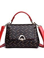 cheap -Women's Rivet Faux Leather / PU Top Handle Bag Letter Beige / Coffee