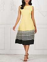 cheap -Women's Elegant Swing Dress - Striped Print Yellow Blue Red S M L XL