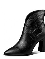 cheap -Women's Boots Block Heel Pointed Toe PU Mid-Calf Boots Fall & Winter Black / Gray