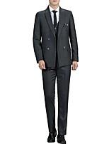 abordables -Noir / Bleu / Gris Rayé Coupe Sur-Mesure Polyester Costume - En Pointe Croisé 4 boutons / costumes