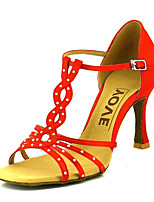 cheap -Women's Dance Shoes Satin Latin Shoes Rhinestone / Buckle Heel Flared Heel Red