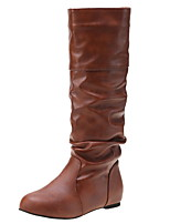 cheap -Women's Boots Low Heel Round Toe PU Mid-Calf Boots Winter Black / Brown / Almond