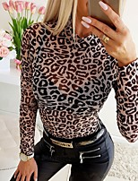 cheap -Women's Daily Going out Basic T-shirt - Leopard Patchwork White