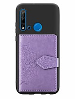 cheap -Case For Huawei Huawei P20 / Huawei P20 Pro / Huawei P20 lite Card Holder / with Stand / Ultra-thin Back Cover Flower PU Leather / TPU