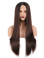 cheap -Synthetic Lace Front Wig Straight Yaki Straight Middle Part Free Part Glueless Lace Front Lace Front Wig Long Medium Length Lake Green / Grass Green Synthetic Hair 24-26 inch Women's Normal Designs