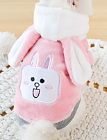 cheap -Dog Hoodie Jumpsuit Rabbit Winter Dog Clothes Pink Costume Flannel Fabric Rabbit / Bunny Cosplay XS S M L XL XXL