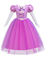 cheap -Rapunzel Dress Masquerade Flower Girl Dress Girls' Movie Cosplay A-Line Slip Cosplay Halloween Pink Dress Halloween Carnival Masquerade Tulle Cotton