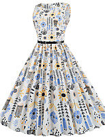 cheap -Women's Daily Dress Vintage Basic Swing Dress - Floral Print White S M L XL