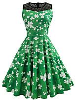 cheap -Dress Adults Women's Pattern Dress Vacation Dress Halloween Festival / Holiday Polyster Green Women's Easy Carnival Costumes