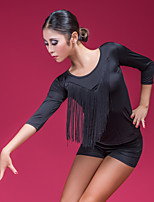 cheap -Latin Dance Tops Women's Training / Performance Ice Silk Tassel 3/4 Length Sleeve Top
