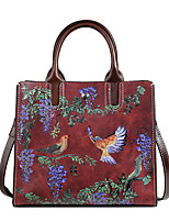 cheap -Women's Zipper Nappa Leather Top Handle Bag Floral Print Red / Coffee