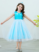 cheap -Elsa Dress Masquerade Flower Girl Dress Girls' Movie Cosplay A-Line Slip Cosplay Halloween Blue / Light Blue Dress Halloween Carnival Masquerade Tulle Sequin Polyster