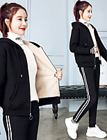 cheap -Women's Side-Stripe 2-Piece Fleece Tracksuit Sweatsuit 2pcs Winter Running Fitness Jogging Windproof Breathable Soft Sportswear Athletic Clothing Set Long Sleeve Activewear Micro-elastic Regular Fit
