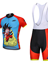cheap -YORK TIGERS Men's Boys' Short Sleeve Cycling Jersey with Bib Shorts - Kid's Silicone Elastane Lycra Sky Blue Cartoon Bike Bib Shorts Jersey Clothing Suit Breathable 3D Pad Quick Dry Reflective Strips