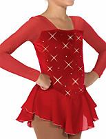 abordables -Robe de Patinage Artistique Femme Fille Patinage Robes Rouge Mosaïque Spandex Haute élasticité Entraînement Compétition Tenue de Patinage Mosaïque Cristal / Stras Manches Longues Patinage sur glace
