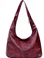 cheap -Women's Zipper PU Top Handle Bag Solid Color Black / Wine / Yellow