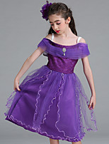 abordables -Raiponce Robe Bal Masqué Robe de demoiselle d'honneur Fille Cosplay de Film Robe trapèze Cosplay Halloween Blanche / Violet / Bleu Robe Halloween Carnaval Mascarade Tulle Polyester