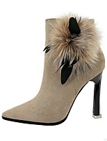 cheap -Women's Boots Stiletto Heel Pointed Toe Suede Winter Black / Purple / Khaki