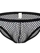 cheap -Men's Mesh Briefs Underwear - Normal Low Waist Black White M L XL