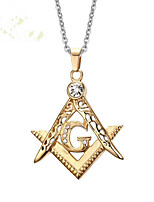 cheap -Men's Cubic Zirconia Pendant Necklace Geometrical Totem Series Fashion Titanium Steel Gold 50 cm Necklace Jewelry 1pc For Daily Holiday