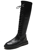 cheap -Women's Boots Flat Heel Round Toe Leather Knee High Boots Fall & Winter Black