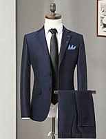 abordables -Noir / Marine foncé Couleur Pleine Coupe Sur-Mesure Polyester Costume - Cranté Droit 2 boutons / costumes