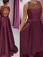 cheap -A-Line Jewel Neck Asymmetrical Satin Prom Dress with Beading by JUDY&JULIA