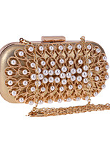 cheap -Women's Pearls Polyester Evening Bag Solid Color Gold / Silver
