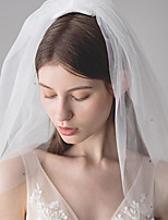 cheap -Four-tier Classic Style / Lace Wedding Veil Shoulder Veils with Solid / Pattern 23.62 in (60cm) POLY / Lace