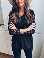 cheap -Women's Daily Basic Blouse - Solid Colored Lace / Backless Black