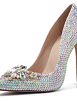 cheap -Women's Heels Stiletto Heel Pointed Toe Rhinestone / Bowknot Cowhide British / Minimalism Spring & Summer / Fall & Winter Silver / Wedding