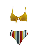 cheap -Women's Basic Yellow Triangle Cheeky Bikini Swimwear - Striped Rainbow Solid Colored Bow S M L Yellow