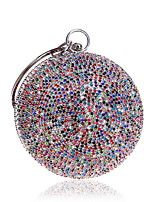 cheap -Women's Crystals Polyester / Silk Evening Bag Solid Color Gold / Silver / Rainbow