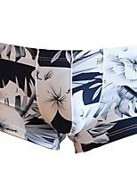 cheap -Men's Print Boxers Underwear - Normal Low Waist Black White Yellow M L XL