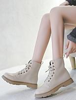 cheap -Women's Boots Flat Heel Round Toe PU Booties / Ankle Boots Winter Black / Dark Brown / Beige