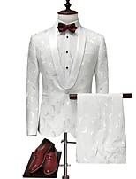 abordables -Blanche Avec motifs Coupe Sur-Mesure Polyester Costume - Col Châle Droit 1 bouton / costumes