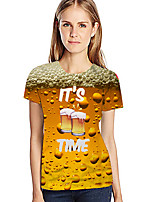abordables -Tee-shirt Femme, 3D Exagéré Jaune