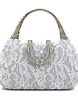 cheap -Women's Chain Polyester Evening Bag Floral Print White / Champagne / Almond