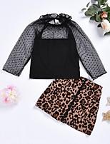 cheap -Kids Girls' Basic Leopard Long Sleeve Clothing Set Black