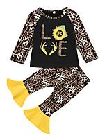 cheap -Kids Girls' Active Streetwear Daily Wear Festival Black Floral Letter Print Long Sleeve Regular Regular Clothing Set Black