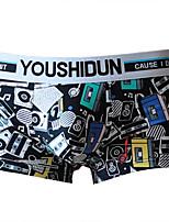 cheap -Men's Basic Boxers Underwear - Normal Mid Waist Black Light Blue White M L XL