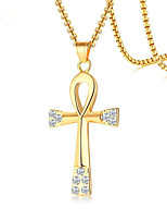 cheap -Men's Cubic Zirconia Pendant Necklace Cross Fashion Titanium Steel Gold 60 cm Necklace Jewelry 1pc For Daily Work