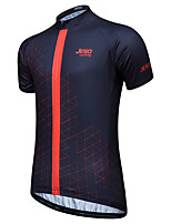 cheap -JESOCYCLING Men's Short Sleeve Cycling Jersey 100% Polyester Black Orange Green Bike Jersey Top Mountain Bike MTB Road Bike Cycling Breathable Quick Dry Back Pocket Sports Clothing Apparel / Stretchy