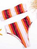 cheap -Women's Basic Red Bandeau Cheeky High Waist Bikini Swimwear - Striped Geometric Lace up Print S M L Red