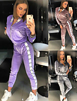 cheap -Women's 2-Piece Full Zip Velour Tracksuit Sweatsuit 2pcs Running Fitness Jogging Windproof Breathable Soft Sportswear Athletic Clothing Set Long Sleeve Activewear Micro-elastic Regular Fit