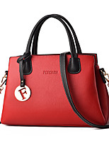cheap -Women's Rivet Faux Leather / PU Top Handle Bag Solid Color Black / Earth Yellow / Wine