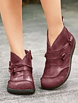 cheap -Women's Boots Flat Heel Round Toe PU Booties / Ankle Boots Fall & Winter Black / Brown / Wine