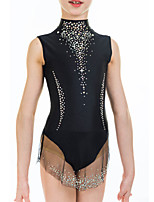cheap -Rhythmic Gymnastics Leotards Artistic Gymnastics Leotards Women's Girls' Leotard Black Spandex High Elasticity Handmade Jeweled Diamond Look Sleeveless Competition Dance Rhythmic Gymnastics Artistic