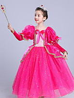 cheap -Rapunzel Dress Masquerade Flower Girl Dress Girls' Movie Cosplay A-Line Slip Cosplay Halloween Fuchsia Dress Halloween Carnival Masquerade Tulle Polyester