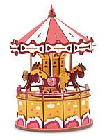 cheap -3D Puzzle Wooden Puzzle Merry Go Round Simulation Hand-made Wooden Tank Kid's Adults' All Toy Gift